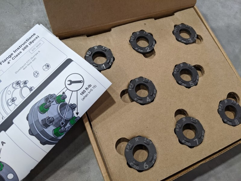 Open box for DuraSquirt® Single Pass Flange System with installation instructions